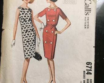 Vintage 1963 McCalls Pattern No. 6714 Misses Dress Size 14 Bust 34