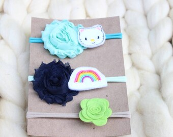 headband set, shabby flower headband, headband, child headband, toddler headband, baby headband, summer headband, shabby headband,