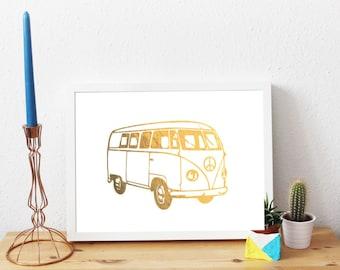 Camper Bus, Gold Foil Print, A4, Gift, Illustration Art Print