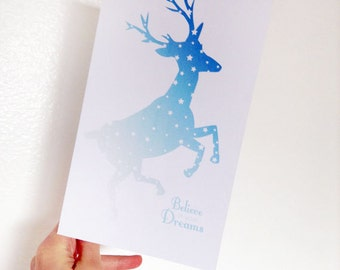 Printable Card Stars & Ombre Deer, Believe in Your Dreams, Blue, White, Purple, Inspiration for Graduate, Pen Pals, Her