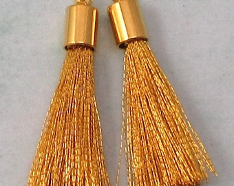 Silky Tassel Pendant, Gold, Gold Cap, 30 MM, 2 Pieces, AG310