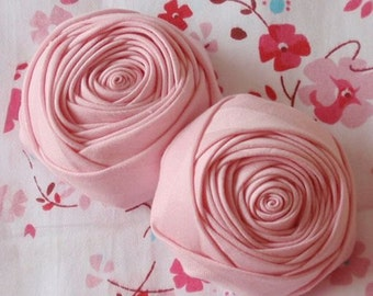 2 Handmade Fabric Rolled Roses (2-1/4 inches) In Pink MY- 72-02  Ready To Ship