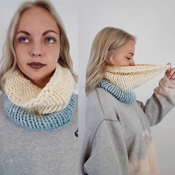 Handknit Handmade Cream Blue Ombre Circle Scarf - Boho Hipster Art Fashion Womens Accessory - Soft Warm Fall Upcycled Yarn Womens Cowl Scarf