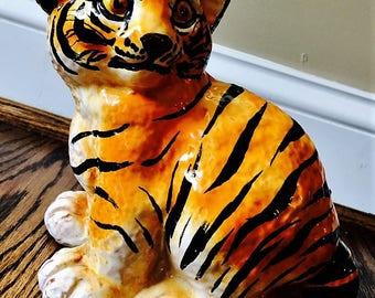 Vintage Bellini Italian Pottery Tiger Cub Sculpture