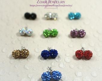 10mm Crystal disco ball stud earrings