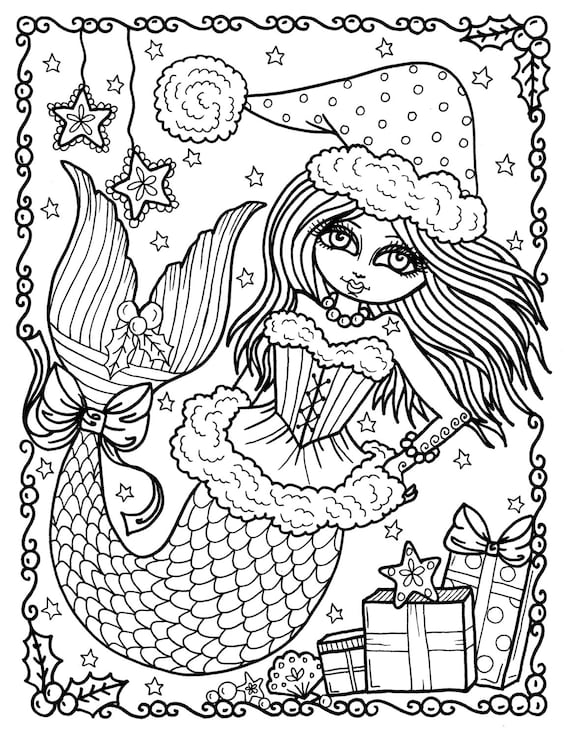 Christmas Mermaid Instant Download Coloring page book digi art