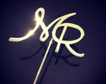 Bride & Groom initials Metal Boutonniere -- Made to Order -- Custom Made
