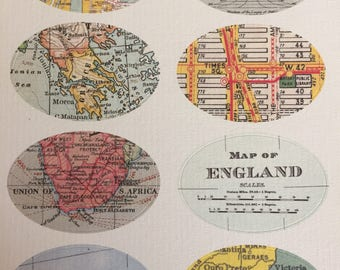 Vintage World Map Stickers, Set of 8