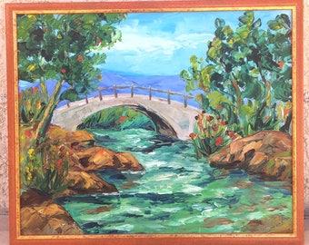 Bridge - painting oil on canvas, knife painting