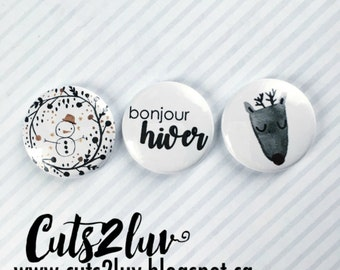 """3 buttons 1 """"Hello winter"""