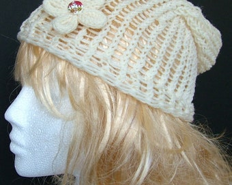 Cream Knitted Slouchy Beanie Hat with Detachable Flower Brooch, Woman's Festival Hat, Spring and Summer Beanie, Flower Hat,