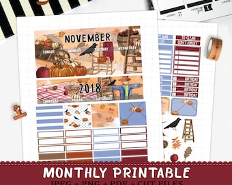 November 2018 Monthly printable planner stickers for Erin Condren LifePlannerTM watercolor cozy fall scarecrow pumpkin sticker kit cut files