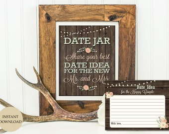 Date jar sign 8x10 plus Date night cards (INSTANT DOWNLOAD) - Date jar - Date night sign - Date night jar - Date night idea cards WB001