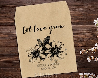 Seed Packet Favor, Rustic Wedding Favor, Wedding Seed Packet, Sunflower Seeds, Vintage Wedding, Let Love Grow Favor, Seed Packet Favor x 25