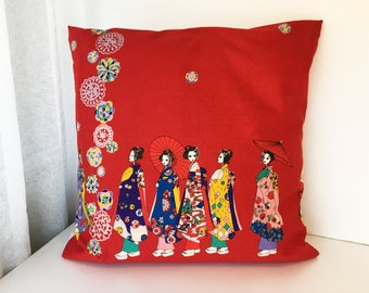 Japanese Red fabric pillow cover, Geisha pillow case, girls bedding pillow throw, geisha doll kimono pillow, japanese cotton pillow cover