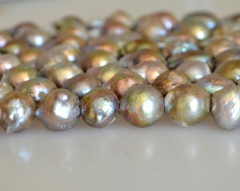 12-13x12-22mm Large Hole Silver Gray Baroque Pearl 2.5mm Hole Edison Pearl Beads  (263-BQGY1015)