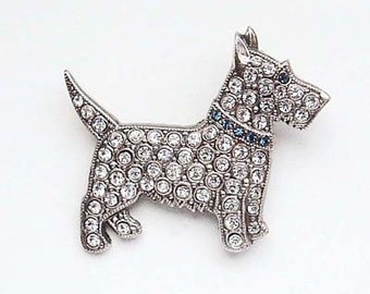 Diamante Scotty Dog Brooch