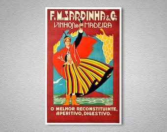 F.M. Sardinha Vinhos da Madeira Vintage Food&Drink Poster - Poster Paper, Sticker or Canvas Print / Gift Idea