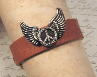 Winged Peace Sign Leather Bracelet, Peace Sign Leather Cuff, Peace Sign Brown Leather Bracelet, Winged Peace Leather Cuff, Adjustable Cuff