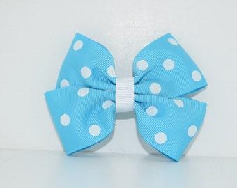 Blue&White Polka Dot Bow
