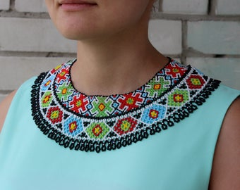 Beaded Necklace, Huichol Necklace, Beaded Bib Necklace, Seed Bead Necklace, Beautiful Tribal Necklace, Aztec Necklace