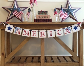 America Garland Banner 4th Of July Banner and Garland 4th of Party Decor and Sign