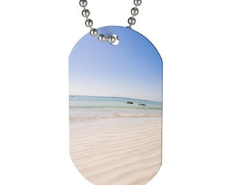 Sand And Beach Dog Tag Necklace For Boys Or Girls Gifts To Boys Gifts To Girls Beach Gift Necklace Unique Gift Boys Dog Tag N