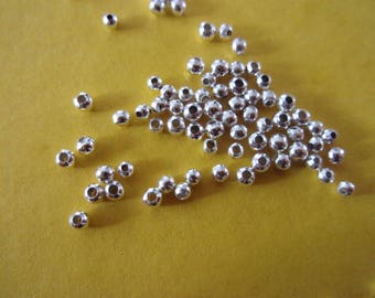 Set of 10 tiny beads in silver, 2 mm diameter