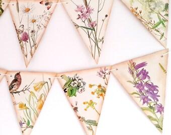 Spring Bunting - Rustic Wedding Bunting -Spring Floral Bunting- Wedding Bunting-  Floral Garland-Wedding Decor- Upcycled Wedding Garland