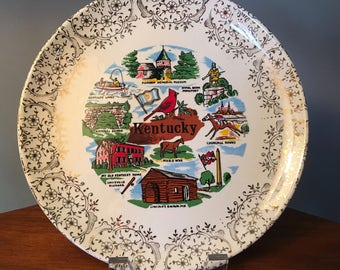 Vintage Kentucky state colorful souvenir plate - two may be available