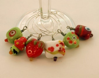 Handmade Colorful Lampwork Wine Glass Charms