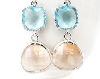 Aquamarine and Peach Earrings Silver Champagne and Aqua Blue Earrings Blue and Blush Glass Earrings Peach Bridesmaids Silver Peach Earrings