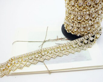 Gold Rhinestone Art Deco Trim, Clear Crystal, Wedding Rhinestone Trim, Rhinestone Chain, Rhinestone Applique, 30mm ( 1 Yard Qty)
