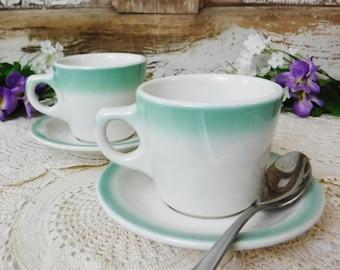 Restaurant China/Restaurant Ware Cup and Saucer Set of 2/Dishes/Buffalo China/Homer Laughlin/Aqua Green/Mismatched Set/Vintage