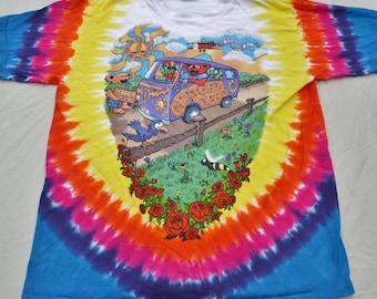 1994 Grateful Dead Tie Dye Shirt Size L Phish Stoner T-Shirt Hippie Jerry Garcia San Francisco Liquid Blue