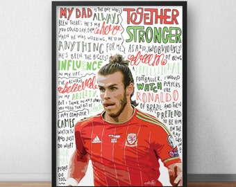 Gareth Bale print / poster hand drawn typography quotes football sport print / poster
