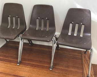 Vintage 1950 Virco Child Chair Chocolate Brown