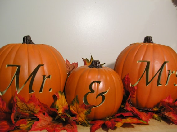 Mr and Mrs Fall Wedding Carved Pumpkin Set