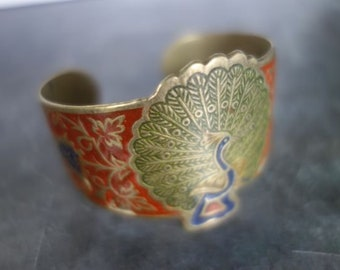 1970's brass and enamel Peacock bracelet from India