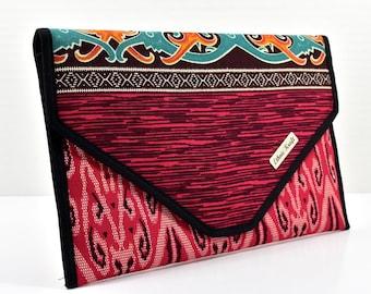 Red Borneo Print Envelope Clutch | Borneo Malaysia | Fairtrade | Boho | Gift