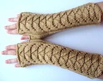 Long Fingerless Gloves Beige Arm Warmers  Mittens Soft Acrylic