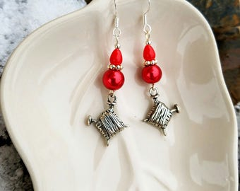 Red Knitting Yarn Earrings, Red Yarn Sterling Silver Earrings, Silver Yarn Earrings, Red Knitting Silver Earrings, Silver Knitting Earrings