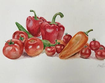 Watercolor painting for kitchen wall,tomatos and peppers,red painting