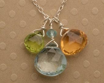 Blue Topaz Necklace, December Birthstone, Gemstone Necklace, Citrine Peridot Necklace