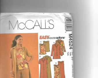 Simplicity M4524 McCall's Misses'/Miss petite Jacket, Duster, Top<Dress and Pants