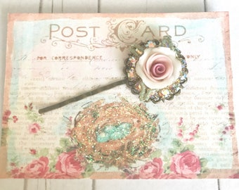 sweet antique brass bobby pin with Swarovski crystals and pink porcelain rose #1009-17