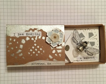 Defunkmail box.....Matchbox small art assemblage gift box cute quirky creative original unusual personalised collage bee defunkyard
