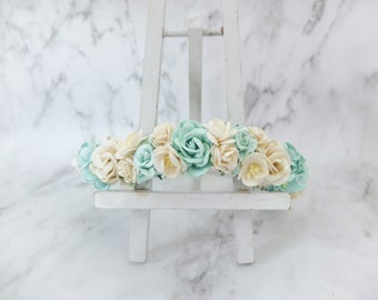 Mint ivory flower crown - wedding floral hair wreath - bridal headpiece - hair accessories - head wreath