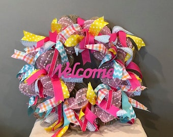 Custom spring Welcome Wreath! Free shipping