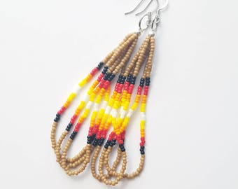 Long Tan Seed Bead Dangle Earrings